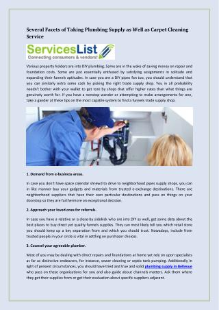 Several Facets of Taking Plumbing Supply as Well as Carpet Cleaning Service