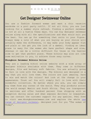 Get Designer Swimwear Online