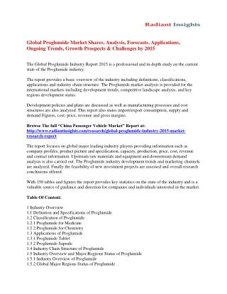 Global Proglumide Market Trends And Segment Forecasts To 2015