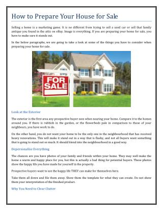 How to Prepare Your House for Sale