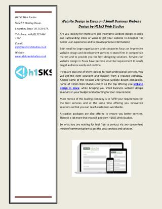 Website Design in Essex and Small Business Website Design by H1SKS Web Studios