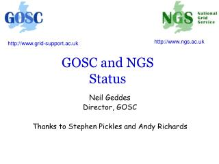 GOSC and NGS Status