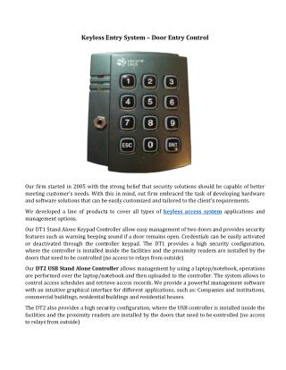 Keyless Entry System – Door Entry Control