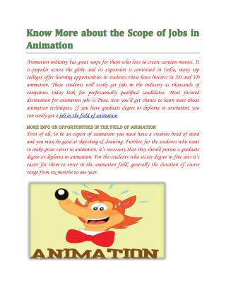 Animation jobs in Pune,Delhi,Chennai,Banglore- wisdomjobs