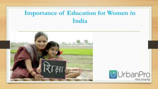 Importance of Education for Women in India