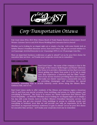 Corp Transportation Ottawa