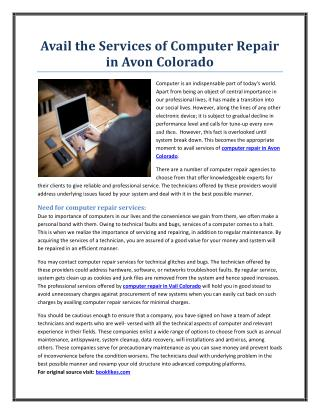 Avail the Services of Computer Repair in Avon Colorado