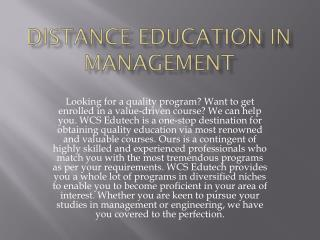 Distance Education in Management
