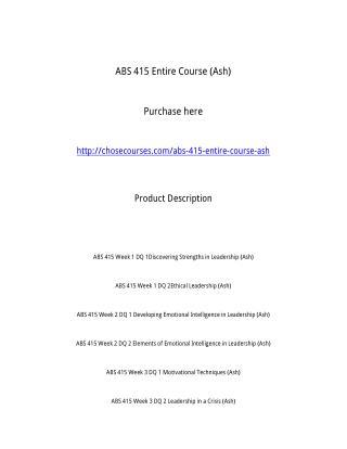 ABS 415 Entire Course (Ash)
