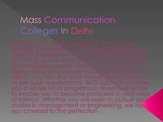 Mass Communication Colleges In Delhi