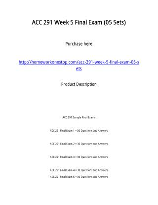 ACC 291 Week 5 Final Exam (05 Sets)