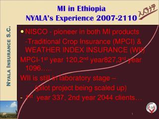 MI in Ethiopia NYALA s Experience 2007-2110