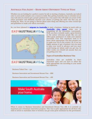 Australia Visa Agent – Know About Different Types of Visas