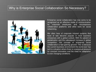 Why is Enterprise Social Collaboration So Necessary?