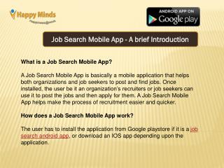 Job Search Mobile App - A brief Introduction