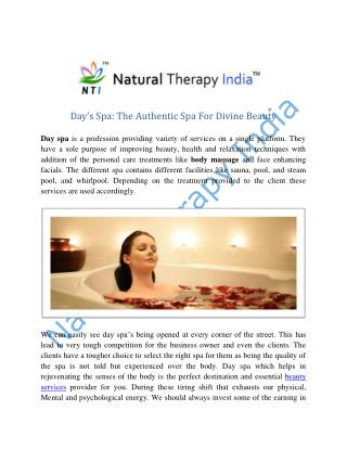 Day Spa Service | Beauty Services In India