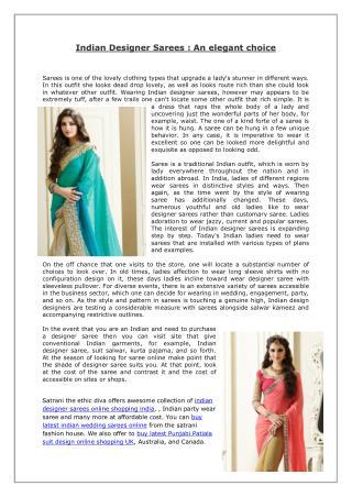 Indian Designer Sarees - An elegant choice