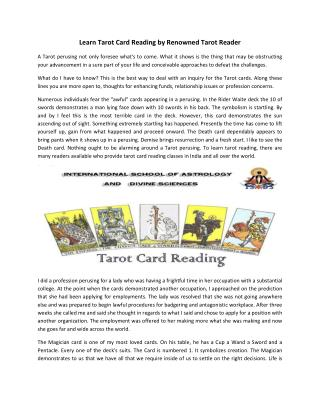 Tarot Card Reading Classes Courses in India- Dr. Himani J