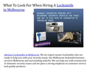 What To Look For When Hiring A Locksmith in Melbourne