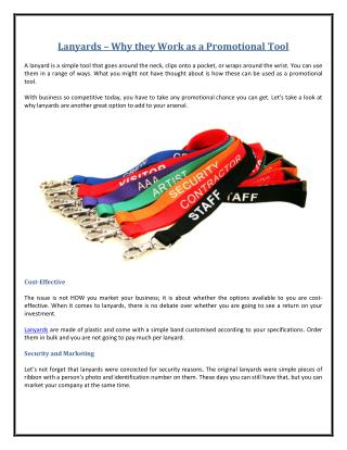Lanyards - Why they Work as a Promotional Tool