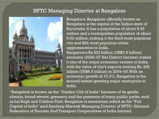 NFTC Managing Director at Bangalore