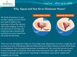 Why  Squat and Not Sit to Eliminate Waste