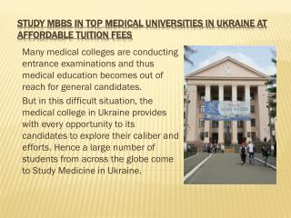 Study MBBS at Affordable and Top Medical Universities in Ukraine