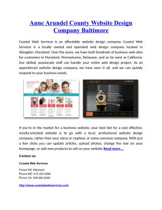 Anne Arundel County Website Design Company Baltimo