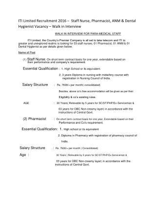 ITI Limited Recruitment 2016 – Staff Nurse, Pharmacist, ANM & Dental Hygienist Vacancy – Walk in Interview