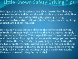 Little Known Safety Driving Tips