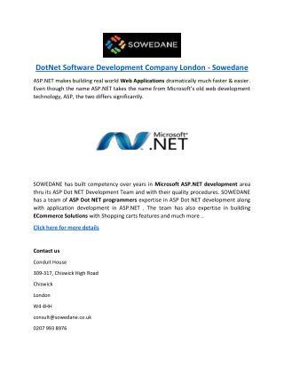 DotNet Software Development Company London - Sowedane