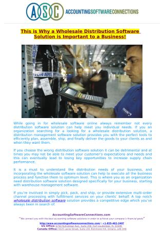This is Why a Wholesale Distribution Software Solution is Important to a Business!