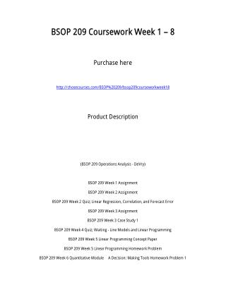 BSOP 209 Coursework Week 1 � 8