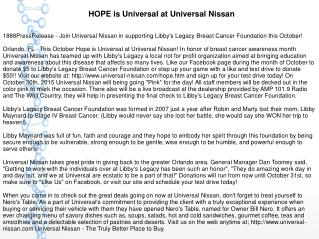 HOPE is Universal at Universal Nissan