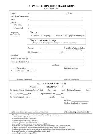 Form Cuti terbaru 2015