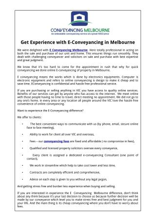 Get Experience with E-Conveyancing in Melbourne
