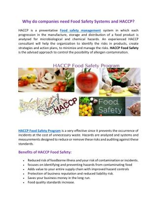 Haccp food safety program