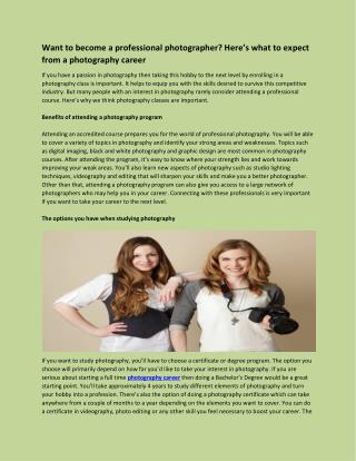 Want to become a professional photographer Here's what to expect from a photography career