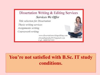 You're not satisfied with B.Sc. IT study conditions.
