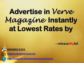 Advertising in Verve Magazine through releaseMyAd.