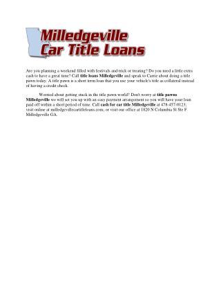 Title Loans Milledgeville