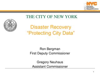Disaster Recovery   Protecting City Data