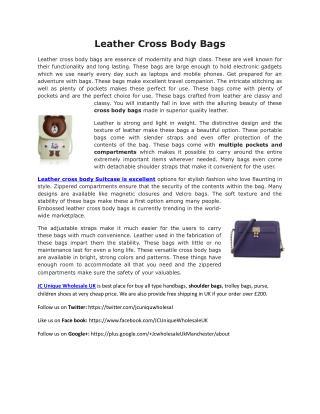 Leather Cross Body Bags UK