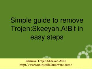 Remove Trojen:Skeeyah.A!Bit immediately from the PC