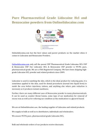 Pure Pharmaceutical Grade Lidocaine Hcl and Benzocaine powders from Onlinelidocaine.com