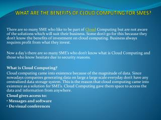 WHAT ARE THE BENEFITS OF CLOUD COMPUTING FOR SMES