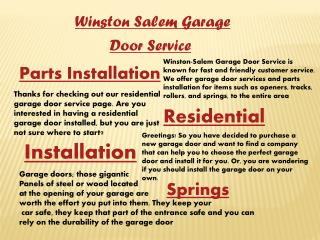 Winston Salem Garage Door Repair