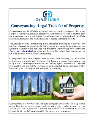 Conveyancing- Legal Transfer of Property