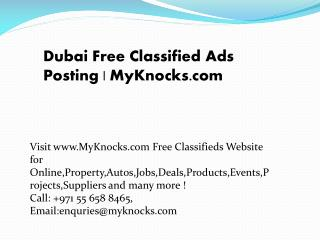 Free Classified Ads Posting in Pakistan | MyKnocks.com