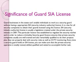 Significance of Guard SIA License